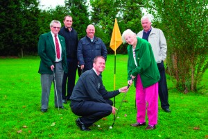 Bill McGrath, Matt Smith, Alan Smith, Michael Goodwin and Jim Wiggam with Silversprings resident Louisa Glover