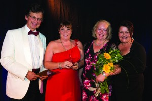 From L to R Gold Standard Framework's Mark Thomas with Care South's Lyn Couldwell and Sarah Broom and host from BBC Somerset Emma Britton