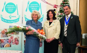 HRH The Duchess of Cornwall with Vivien Rose, NACC Secretary for the South East Region and Neel Radia, NACC National Chair