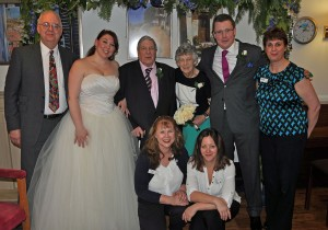 Magical event: Newly weds Lauren and Matthew Dearsley with grandparents Fred and Betty Aldred; the Reverend Bob Almond; Fernhill activity organisers Anne-Marie Knight and Karen Grant-A'Court and Magical event: Newlyweds Lauren and Matthew Dearsley with grandparents Fred and Betty Aldred; the Reverend Bob Almond; Fernhill activity organisers Anne-Marie Knight and Karen Grant-A'Court and Head of Care, Zoe Haines.