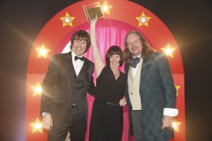Left to right - Host Steve Walls, Belong, Michelle Jones and Neil Russell from PJ Care at the Great North West Care Awards