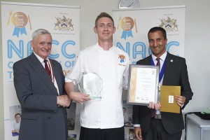 Winner Oliver Smith with Bev Puxley, past master, Worshipful Company of Cooks and head judge, Oliver Smith, NACC Care Cook of the Year 2015, Neel Radia, national chair, NACC.