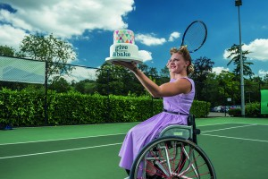 Wimbledon 2015 Wheelchair Ladies Doubles Champion Jordanne Whiley 'serves cake for Give & Bake' in support of Leonard Cheshire Disability