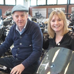 Vicki Shaw with a resident at the National Motorcycle Museum.