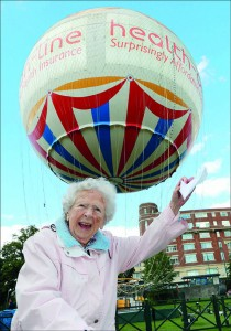 Flying high: Joan Mackay, 103, prepares to soar 492 feet into the air on the Bournemouth Balloon.