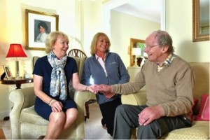 Lorna Dawber (Home Care Manager, Carefound Home Care) celebrates  findings of the CQC Report with clients, Mr and Mrs Philipson
