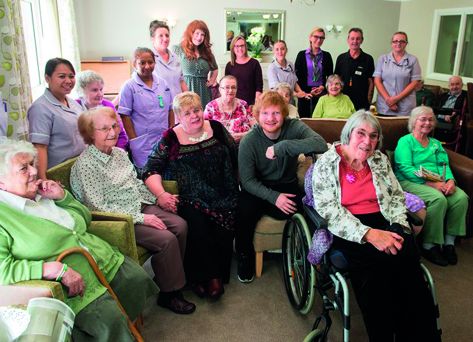 Ed Sheeran and Mills Meadow care home residents low res