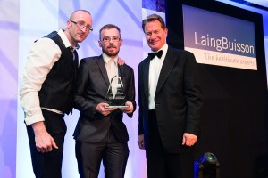 James Palmer and Chris Robson from Spencers Villa collect their Award from host Michael Portillo
