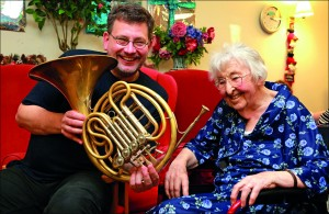 Hitting the right note: BSO musician Kevin Pritchard with Jean Tillyard, a resident at Colten Care's Fernhill home.
