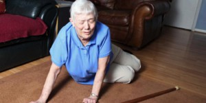 Woman-falling-over-in-home