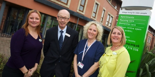 Belong Atherton's Lead Nurse Nicola Johnstone CEO Doctor Alan Baron Wigan and Leigh Hospice Manager Debbie Dempsey and Belong Atherton Support Manager Claire Bibby