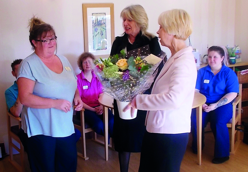 Care South's Chairman Felicity Irwin and Chief Executive Susan Willoughby presenting Tracy Frankcom with her award