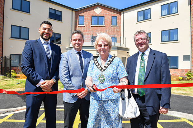 L to R New Cares Kad Daffe and Chris McGoff with the Mayor of Rushcliffe Councillor Maureen Stockwood and Francis Purdue Horan.