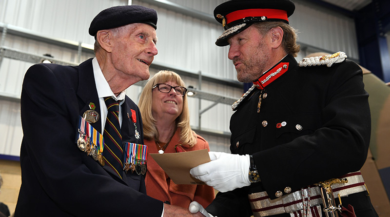 Joseph Kelsey 96 presented with Veterans Badge by the Lord Lieutenant of Hertfordshire
