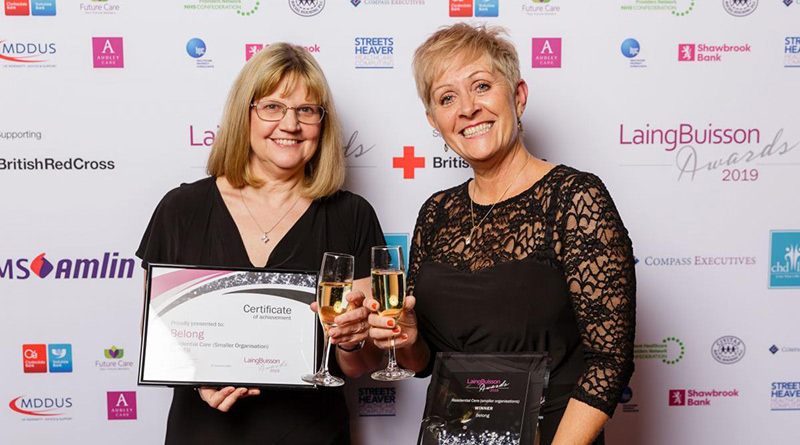 L R Chief Executive Tracey Stakes and Deputy Chief Executive Tracy Paine with the Residential Care Award at the LaingBuisson 2019 award ceremony